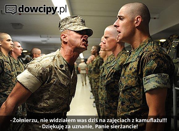 - Żołnierzu, nie widziałem was dziś na zajęciach z kamuflażu!!! - Dziękuję za uznanie sierżancie!