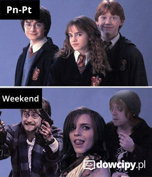 Poniedziałek - piątek vs. weekend.